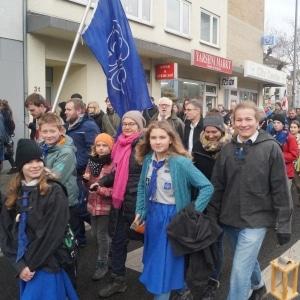 Der Aachener VCP bei der Prozession zum Aachener Dom